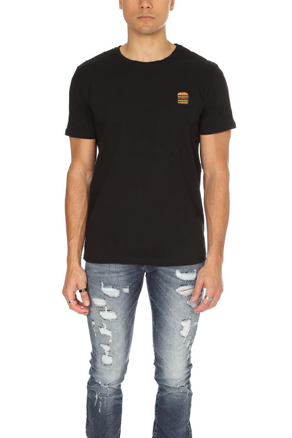 Bricktown Men's  Burger Graphic T-shirt In Black