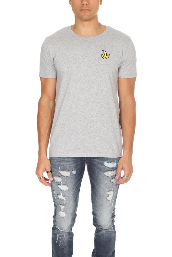 Bricktown Men's  Banana Graphic T-shirt In Grey