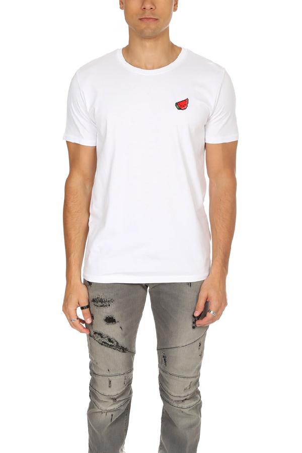 Bricktown Men's  Watermelon Graphic T-shirt In White