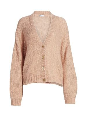 Brunello Cucinelli Sequined Fuzzy-knit Button-front Cardigan In Beige