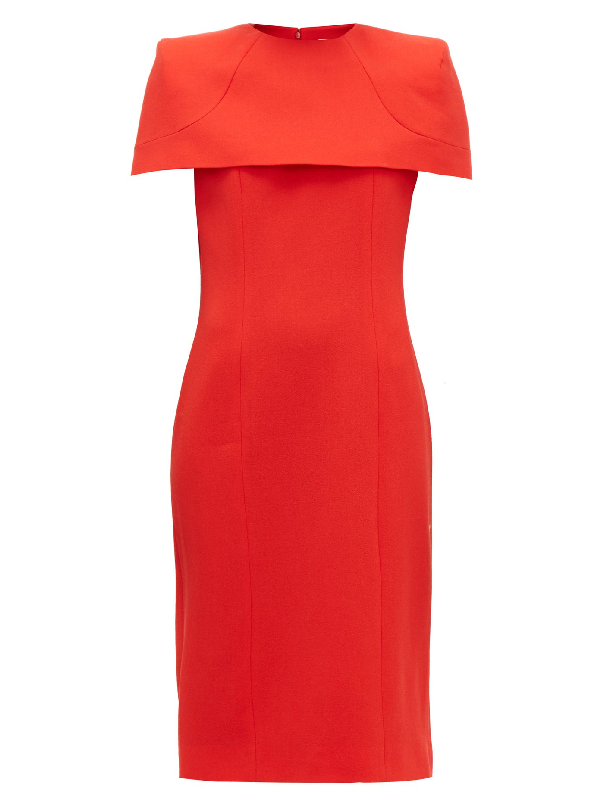 Givenchy Crepe Wool Dress With Removable Capelet In Red