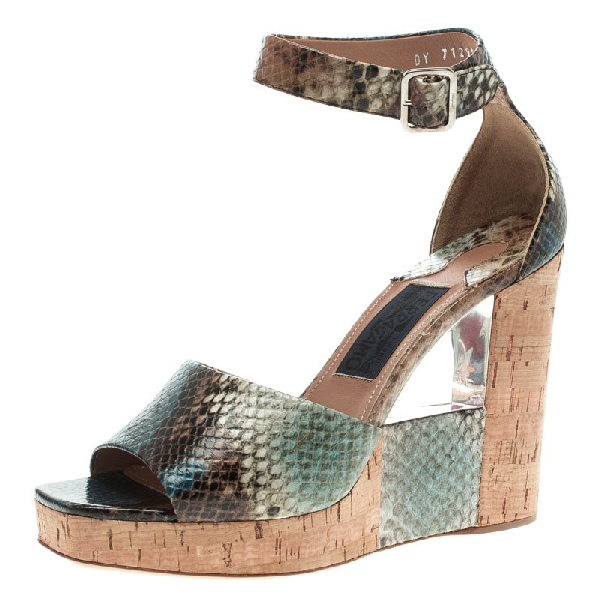 Salvatore Ferragamo Multicolor Snake Embossed Leather Wedge Sandals Size 38