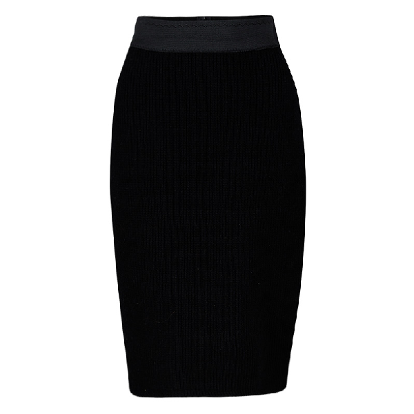 Dolce & Gabbana Black Wool Chunky Knit High Waist Skirt M
