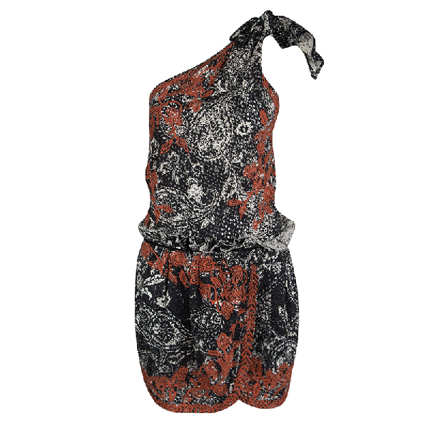 Isabel Marant Black And Red Eyelet Embroidered Knotted One Shoulder Natacha Dress M