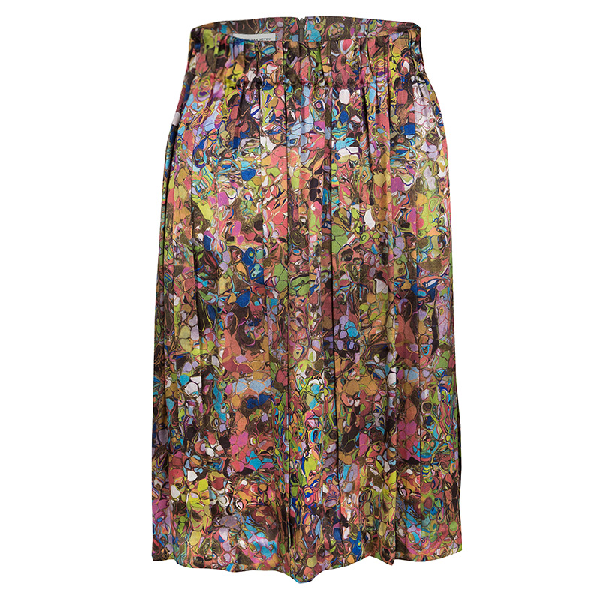 Dries Van Noten Multicolor Printed Silk Pleat Detail Skirt M