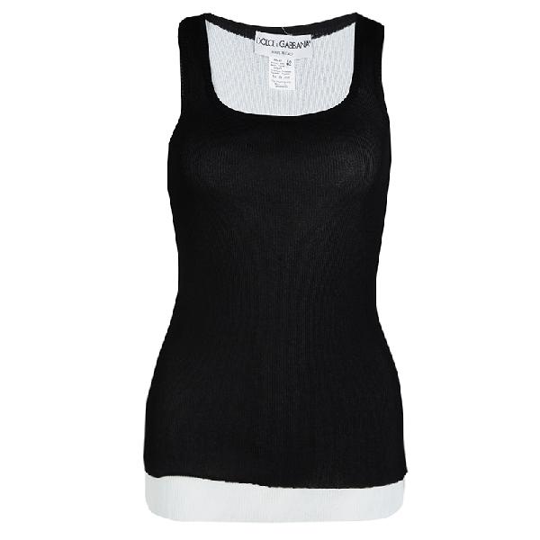 Dolce & Gabbana Monochrome Layered Rib Knit Sleeveless Tank Top M In Black