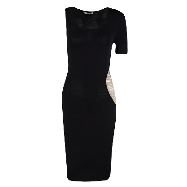 Alexander Mcqueen Black Knit Asymmetric Sleeve Chain Detail Bodycon Dress Xs
