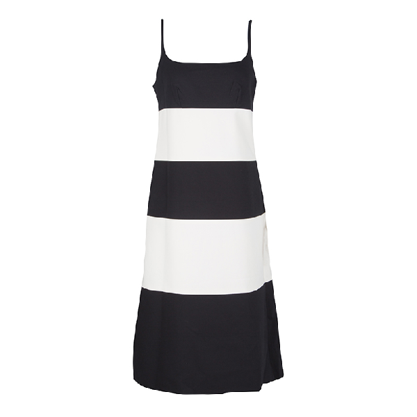 Marc Jacobs Monochrome Colorblock Cotton Mohair Blend Sleeveless Dress S In Black
