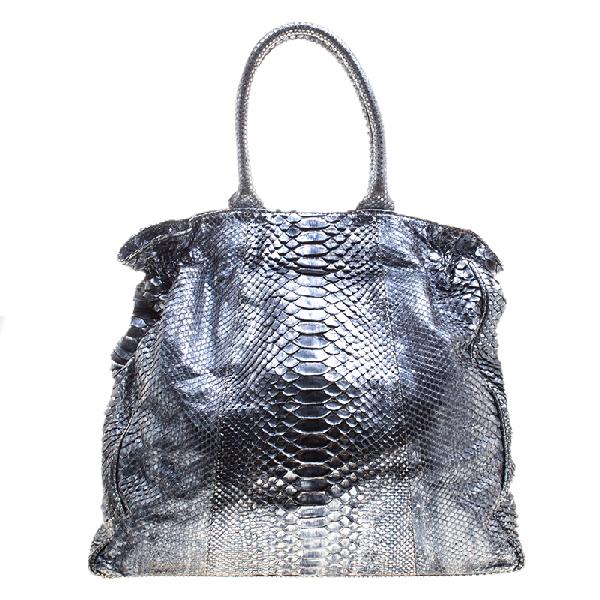 Zagliani Metallic Python Shopper Tote