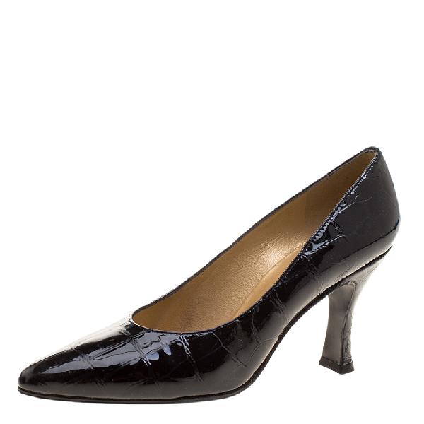 Stuart Weitzman Black Patent Croc Embossed Leather Pumps Size 38.5