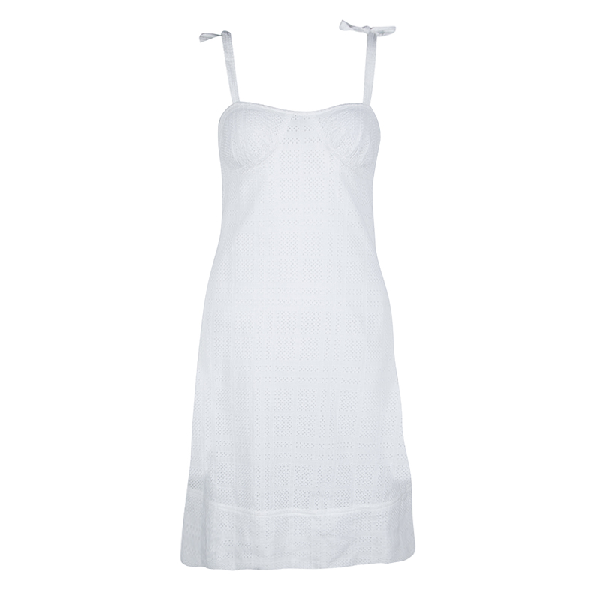Burberry London White Cotton Lace Tie Detail Sleeveless Dress S