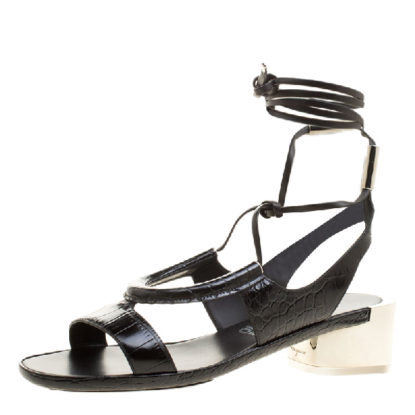 Salvatore Ferragamo Black Croc Effect Leather Glorja Cutout Sandals Size 39