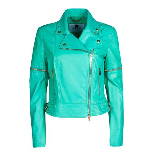Blumarine Green Lamb Leather Zip Front Jacket M