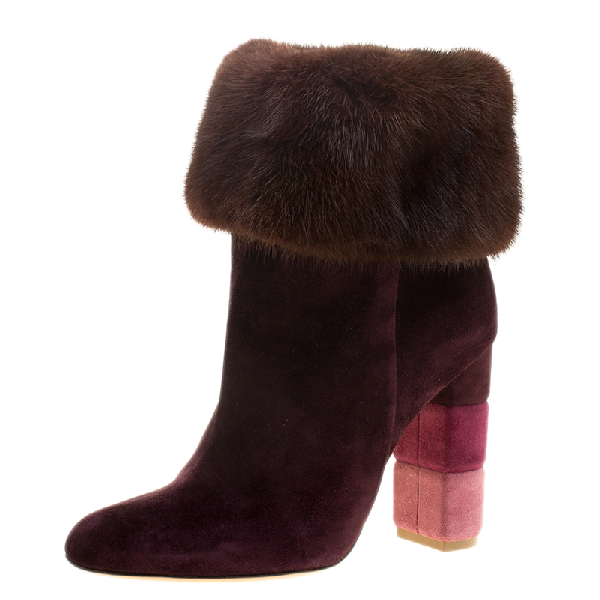 Salvatore Ferragamo Burgundy Suede Loris Fur Trim Ankle Boots Size 38.5