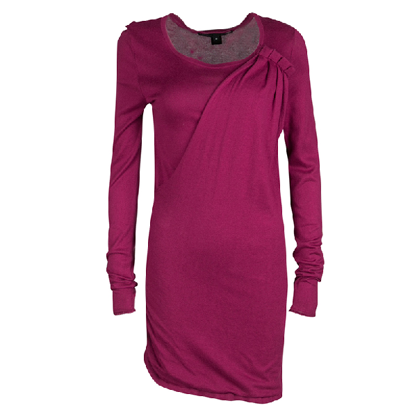 Marc By Marc Jacobs Vineyard Knit Draped Pleat Detail Ruched Sweater Tunic M In Pink