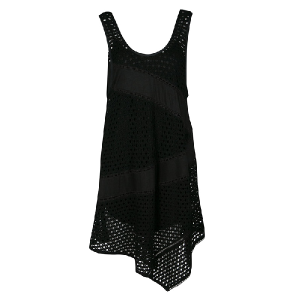 Marc By Marc Jacobs Black Eyelet Jersey Asymmetric Sleeveless Yuki Dress S