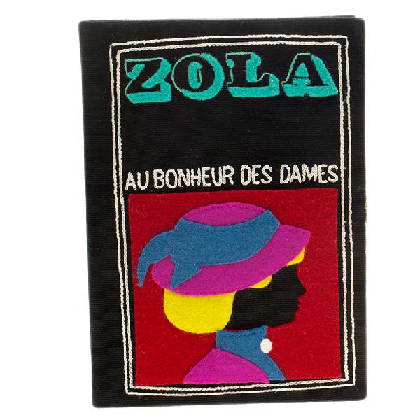 Olympia Le-tan Black Canvas And Brass Zola Book Clutch In Multicolor