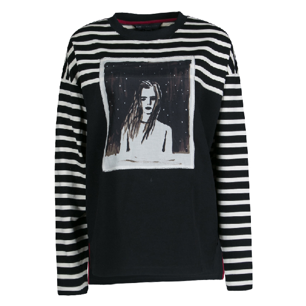 Marc By Marc Jacobs Monochrome Striped Dreamy Rhea Print Sweatshirt L In Multicolor