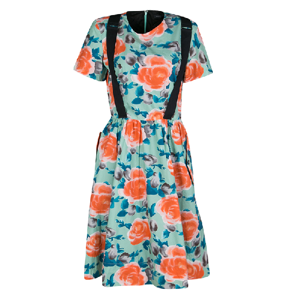Marc By Marc Jacobs Pale Jade Jerrie Rose Printed Cotton Poplin Dress M In Multicolor
