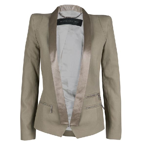 Barbara Bui Khaki Cotton Satin Trim Tailored Blazer S In Brown