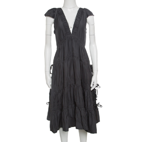 Marc Jacobs Grey Plunge Neck Ruffled Tie Detail Silk Dress S