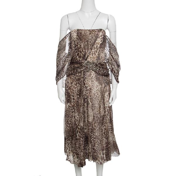 Blumarine Animal Printed Embellished Draped Silk Dress M In Brown