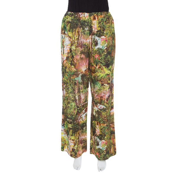 Carven Multicolor Havana Jungle Print Elasticized Waist Cotton Poplin Pants M