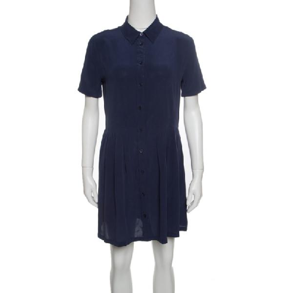 Equipment Navy Blue Washed Silk Naomi Shirt Dress S