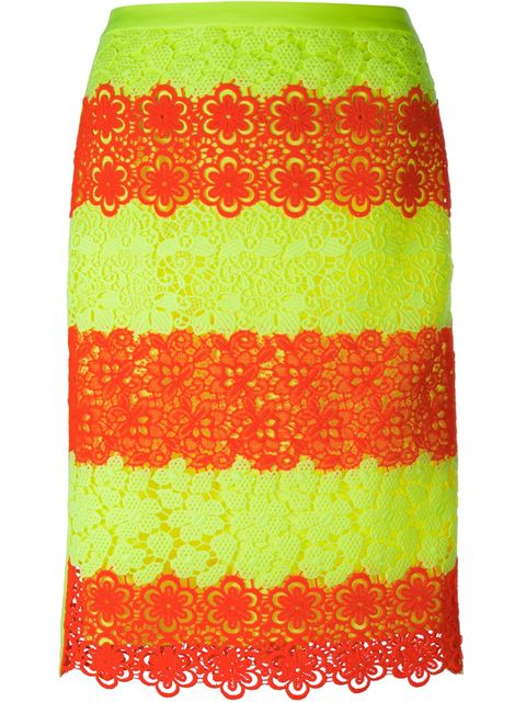Moschino Woman Guipure Lace Skirt Bright Orange In Acid Green