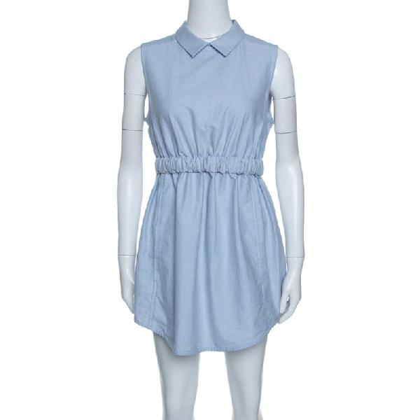 Carven Blue Chambray Gathered Waist Sleeveless Dress M