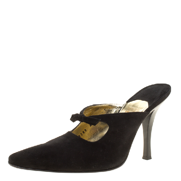 Salvatore Ferragamo Black Suede Anamur Pointed Toe Mules Size 38.5