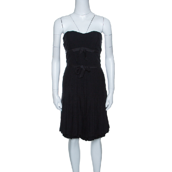 Marc By Marc Jacobs Black Textured Silk Bow Detail Pleated Strapless Dress M