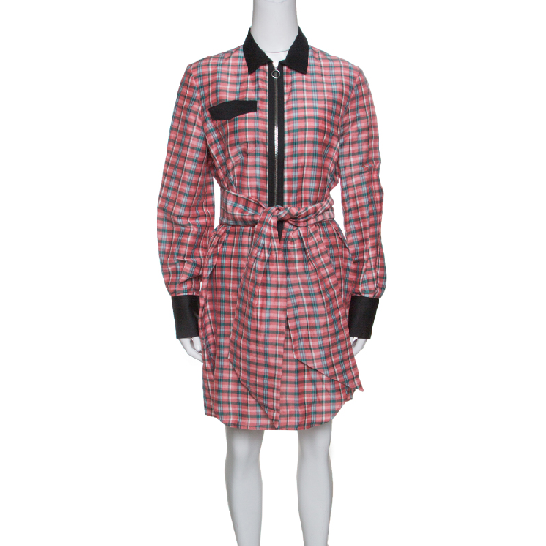 Isabel Marant Checked Ramie And Silk Contrast Trim Belted Mofira Shirt Dress M In Multicolor
