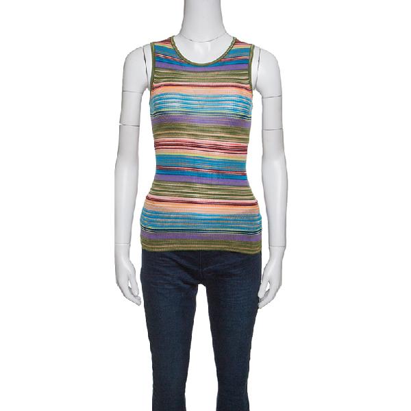 Missoni Multicolor Striped Rib Knit Sleeveless Tank Top S