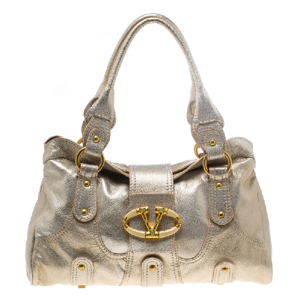 Valentino Garavani Gold Leather Crystal Catch Satchel