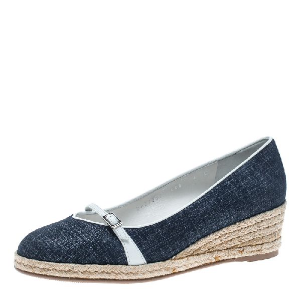 Salvatore Ferragamo Blue Denim Finish Suede Audrey Wedge Espadrille Pumps Size 39.5