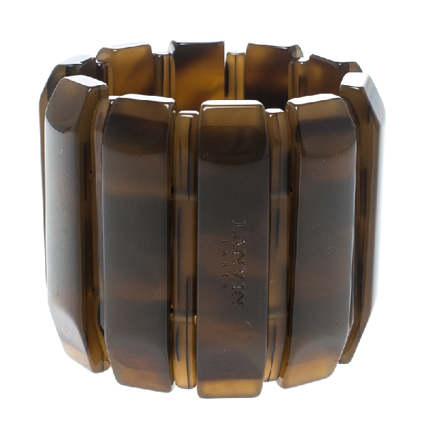 Lanvin Brown Plastic Polyester Elastic Wide Cuff Bracelet