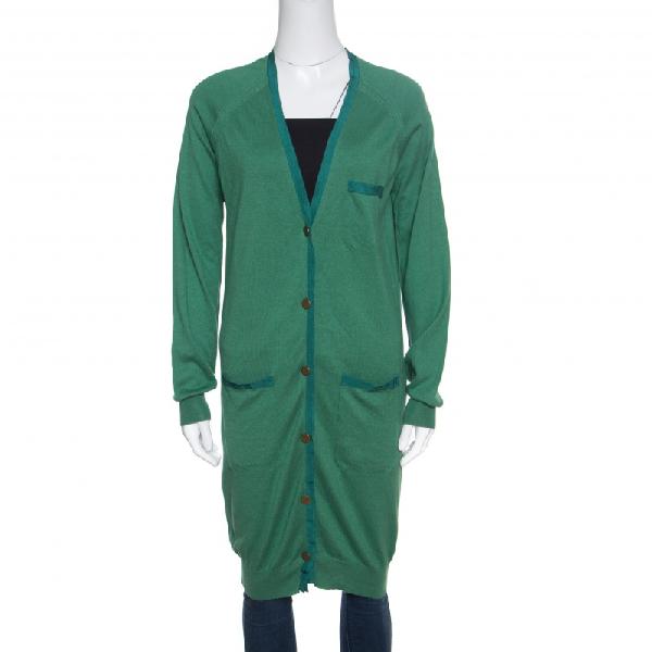 Lanvin Green Cashmere Blend Raglan Sleeve Button Front Long Cardigan S