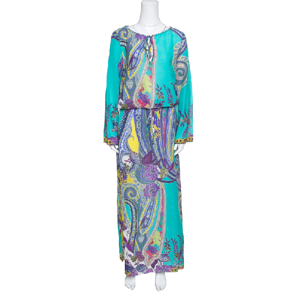 Etro Multicolor Printed Cotton And Silk Waist Tie Detail Kaftan Dress M