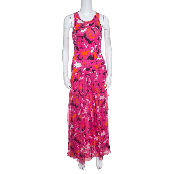 Diane Von Furstenberg Pink Silk Eden Garden Printed Davina Maxi Dress S