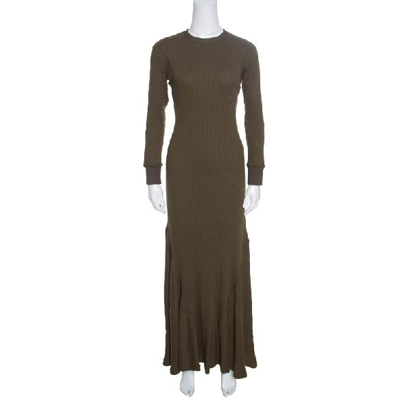 Loewe Khaki Green Ribbed Knit Godet Maxi Dress S