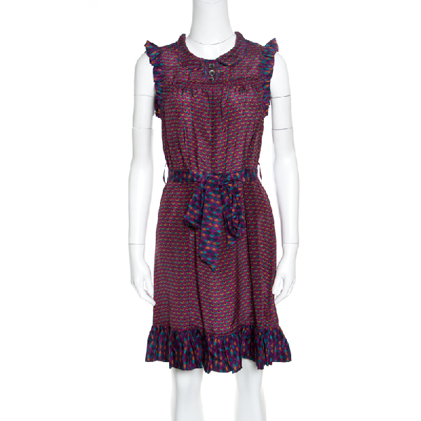 Marc By Marc Jacobs Multicolor Printed Silk Ruffled Trim Belted Dress Xs
