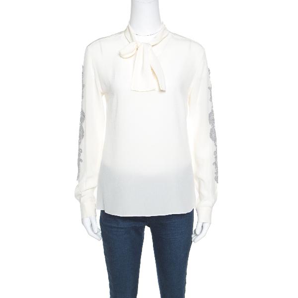 Dolce & Gabbana Cream Silk Lace Applique Bow Tie Detail Blouse S