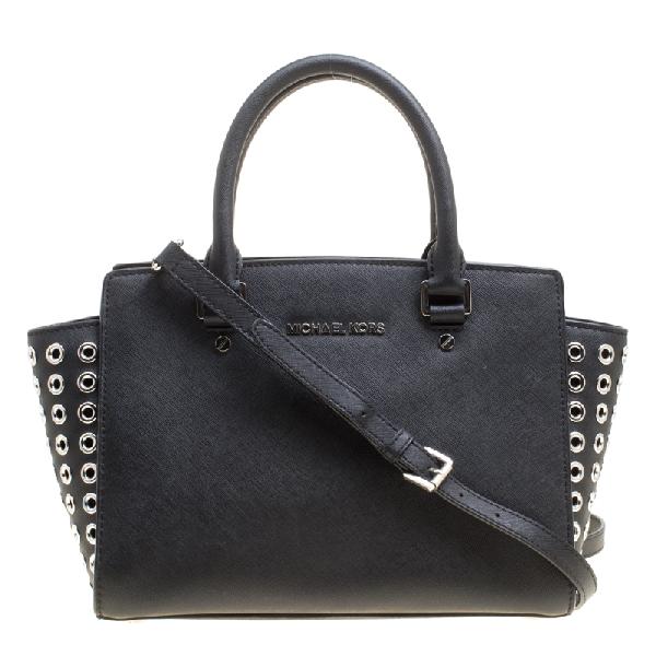 Michael Kors Michael  Black Leather Medium Selma Eyelet Top Handle Bag