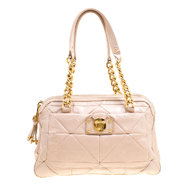 Marc Jacobs Blush Pink Quilted Glazed Leather Chain Satchel