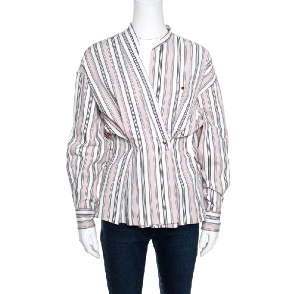 Isabel Marant Pink And White Striped Cotton Jacquard Wrap Front Silvia Shirt M