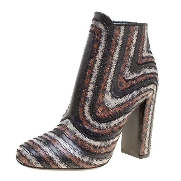 Salvatore Ferragamo Multicolor Leather Feeling Zig Zag Block Heel Ankle Boots Size 38.5