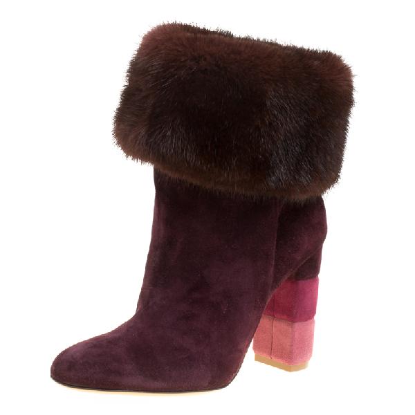 Salvatore Ferragamo Burgundy Suede Loris Fur Trim Ankle Boots Size 37.5