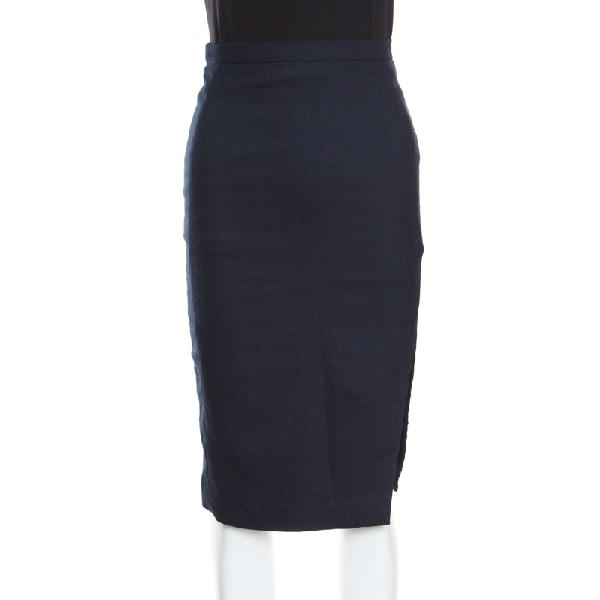Altuzarra Navy Blue Wool Blend Stretch Faun Twill Pencil Skirt S