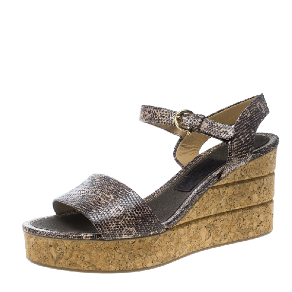 Salvatore Ferragamo Two Tone Embossed Lizard Leather Madea Cork Wedge Sandals Size 40.5 In Grey